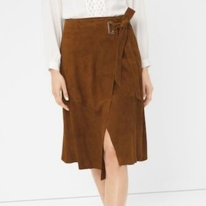 WHBM Genuine Brown Suede A-line Wrap Skirt Size 8